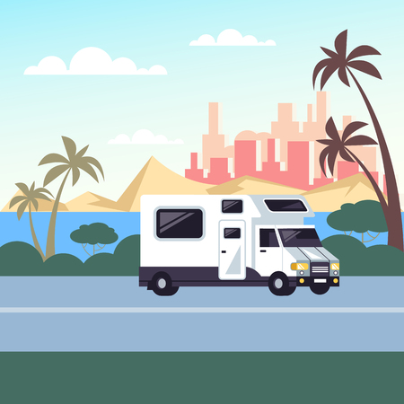 Trailer car riding on road. Family trip camping. Vector design graphic flat cartoon isolated illustration