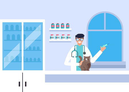 Doctor veterinary character making injection to cat pet. Medicine concept. Vector design graphic flat cartoon isolated illustration Standard-Bild - 120817822