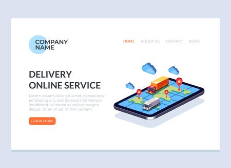 Página de banner de web de concepto de negocio de servicio de entrega en línea rápida. Ilustración de diseño gráfico de dibujos animados plano de vector
