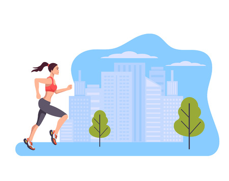 Woman runner character run in city park summer. Healthy lifestyle concept. Vector design graphic flat cartoon isolated illustration Ilustração