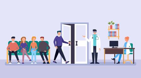 Pacientes personas esperando médico en línea. Concepto de clínica de ayuda de medicina de consultorio médico. Ilustración de diseño gráfico de dibujos animados plano de vector