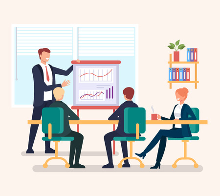 Group of people businessmen office workers discussion new project strategy Successful business planning concept. Vector flat cartoon graphic design illustration