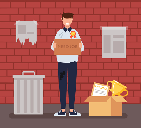 Sad unemployed homeless student trying to find job. Social economic education issue concept. Vector flat cartoon graphic design illustration Illustration