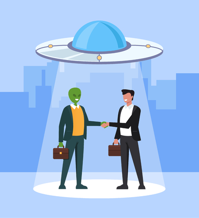 Alien and human business character shaking hand and making deal. Intergalactic planets space friendship and partnership concept. Vector flat cartoon graphic design illustration