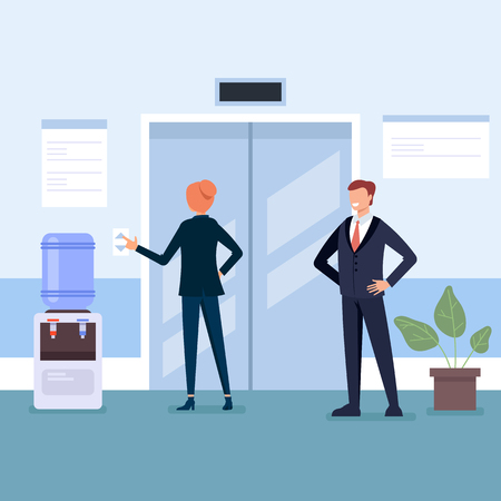 Elevator in business center Business life concept. Vector flat cartoon graphic design illustration