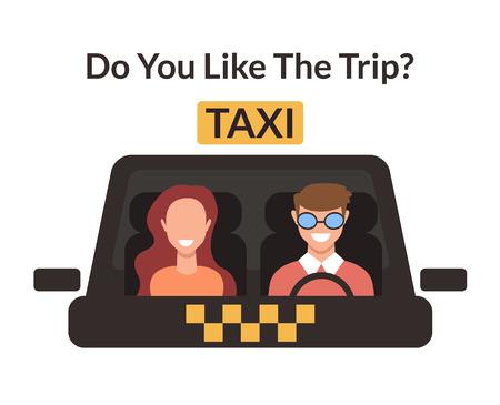Cab driver car driver client woman taxi driver Taxi transportation city service concept. Vector flat cartoon graphic design illustration
