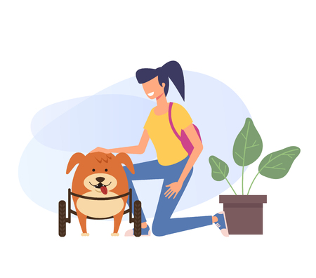 Disabled adopted happy dog character with hid new owner. Veterinary and adoption concept. Vector flat cartoon graphic design illustration Illustration