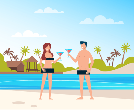 Two people smiling and relaxing at the beach. Summer time and open mind concept. Vector flat cartoon graphic design illustration