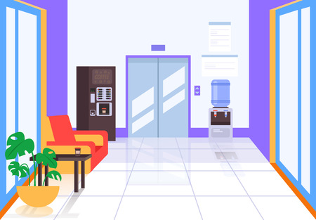 Business center hall with elevator and coffee machine. Business life building concept. Vector flat cartoon graphic design illustration