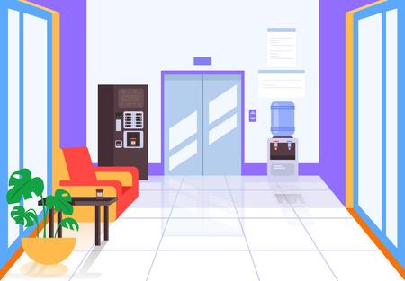 Salón del centro de negocios con ascensor y cafetera. Concepto de construcción de vida empresarial. Ilustración de diseño gráfico de dibujos animados plano de vector