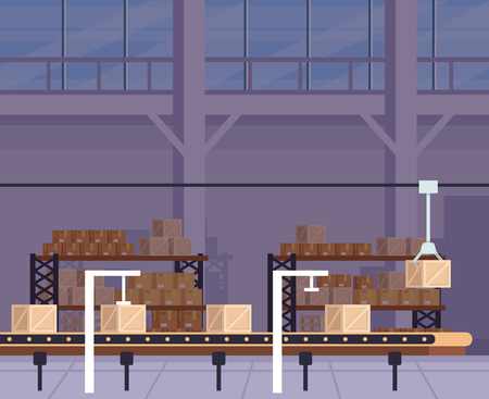 Large warehouse stock and robot machine. Delivery logistic shipment concept. Vector flat cartoon graphic design illustration Illustration
