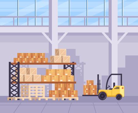 Grande magazzino magazzino con molte scatole. Concetto di spedizione logistica di consegna. Illustrazione di progettazione grafica del fumetto piatto vettoriale