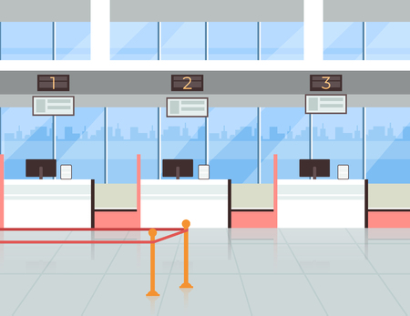 Airport check in registration tickets terminal room. Travel vacation trip tourism concept. Vector flat cartoon graphic design illustration