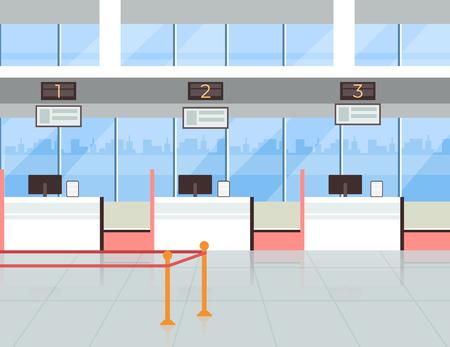Enregistrement à l'aéroport dans la salle du terminal des billets d'enregistrement. Concept de tourisme de voyage de vacances de voyage. Illustration de conception graphique de dessin animé plat de vecteur
