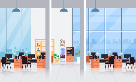 Big empty office interior workplace workspace concept. Vector flat cartoon graphic design illustration Vektorové ilustrace