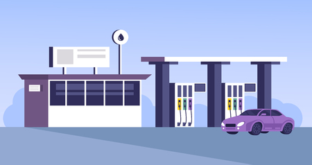 Gas station building with car parking. Vector flat cartoon graphic design illustration Banque d'images - 120818380