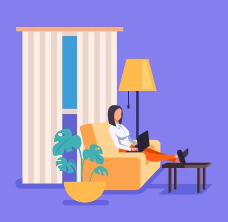 Lavoratrice freelance donna che lavora a casa in soggiorno. Illustrazione di progettazione grafica del fumetto piatto vettoriale Vettoriali