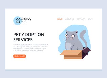 Pet adoption concept. Vector flat graphic design web page banner poster illustration.
