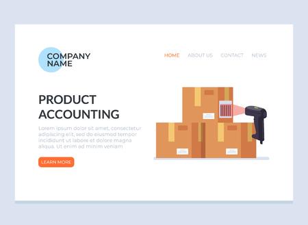 Barcode-Scanner-Etikett-Informationsdaten scannen. Cargo Delivery Sale Webseite Banner Konzept. Vector flaches Karikaturgrafikdesign lokalisierte Ikonenillustration