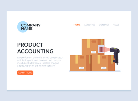 Barcode scanner scanning box label information data. Cargo delivery sale web page banner concept. Vector flat cartoon graphic design isolated icon illustration