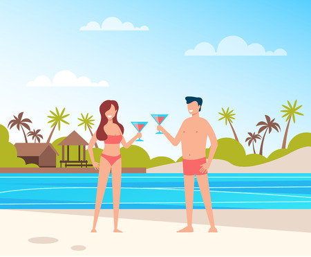 Two people smiling and relaxing at the beach. Summer time concept. Vector flat cartoon graphic design illustration