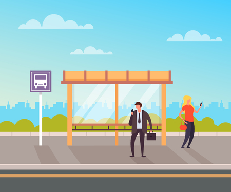 People crowd Bus station concept. Vector flat graphic design illustration Ilustracja