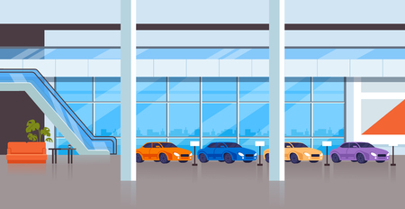 Car store shop showcase room interior inside. City transportation concept. Vector flat graphic design illustration