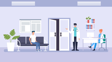 People patients waiting in line doctor. Medicine aid office concept. Vector flat graphic design illustration Illustration