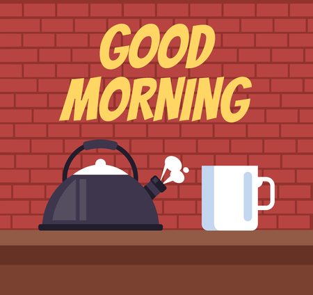 Teapot and coffee cup on table. Good morning concept. Vector flat graphic design illustration