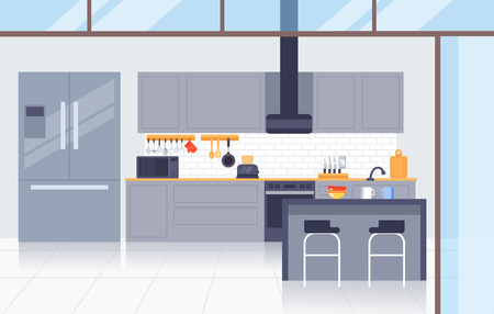 Kitchen modern interior concept. Vector flat graphic design illustration