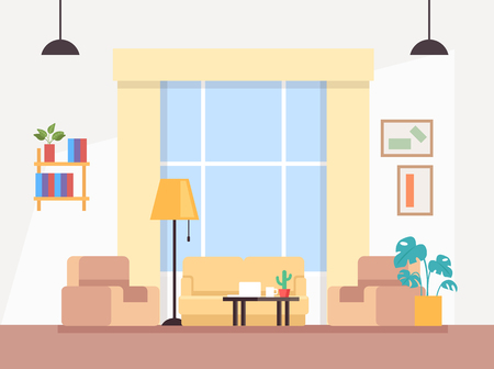 Modern living room interior concept. Vector flat graphic design illustration