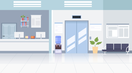 Doctor office hall interior concept. Vector flat graphic design illustration
