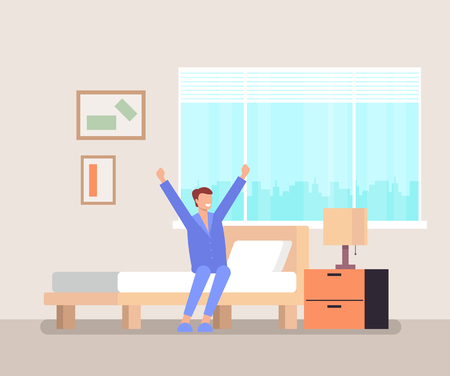 Man character waking up and sitting in bed and stretching. Good morning concept. Vector flat graphic design illustration