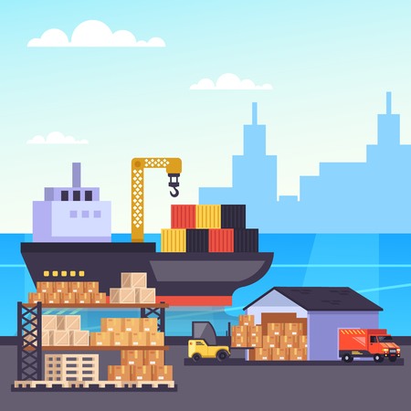 Big container freight ship in seaport harbor. Global cargo delivery shipping industry. Vector design graphic flat cartoon isolated illustration  イラスト・ベクター素材