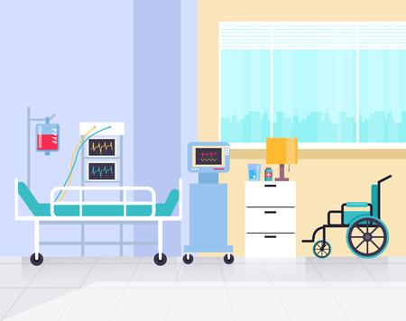 Reanimation clinic room. Health care and medicine concept. Vector flat graphic design illustration Vectores