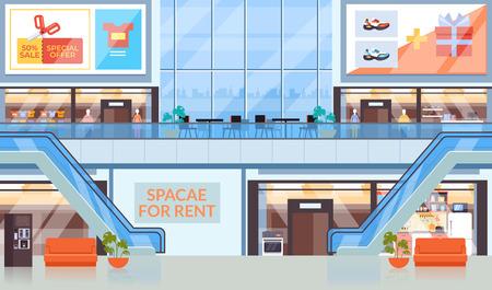 Concetto del centro commerciale del centro commerciale del supermercato. Illustrazione di design grafico piatto vettoriale