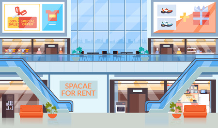 Supermarkt-Einkaufszentrum-Mall-Konzept. Vektor flache Grafikdesignillustration