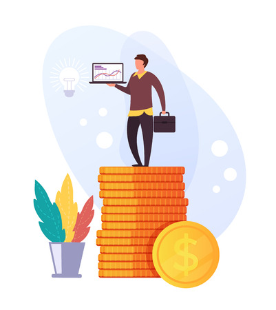 Businessman office worker character standing on gold coins pile. Business success concept. Vector flat graphic design illustration Ilustração
