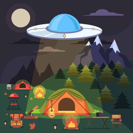 Aliens abduct people. Vector flat graphic design illustration