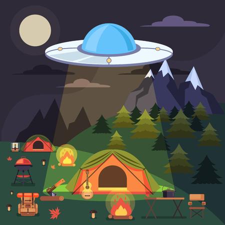 Aliens abduct people. Vector flat graphic design illustration