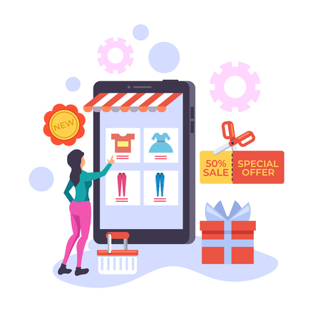 Woman consumer character choosing cloth and making purchases in online shop. E-commerce shopping online web concept. Vector flat graphic design illustration