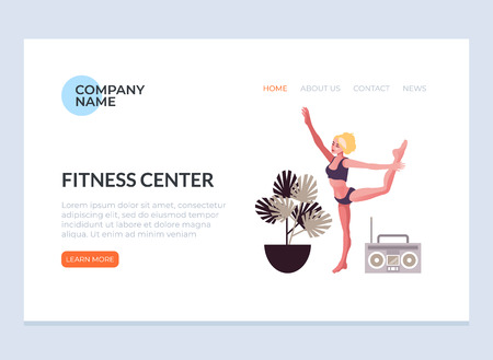 Sport woman character doing exercising yoga fitness. Sport web page banner concept. Vector flat graphic design illustration