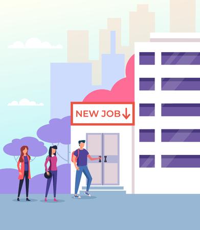 Candidate people job Hiring recruitment human resources hr concept. Vector flat graphic design illustration Ilustração
