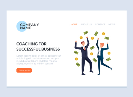 Happy smiling business people under money rain. Success business coaching training web banner page concept. Vector flat graphic design illustration