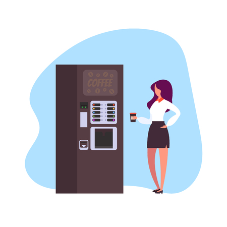 Drinking coffee from a coffee machine. Vector flat graphic design illustration
