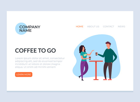 Two people are drinking and drinking coffee. Drinks to go cafe concept. Vector flat graphic design illustration