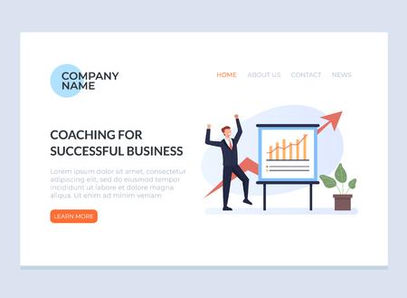 Success motivation business training web banner page concept. Vector flat graphic design illustration 일러스트