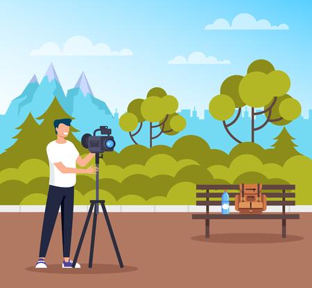 Professional photograph man character taking photo of nature public park. Vector flat cartoon graphic design illustration Illustration