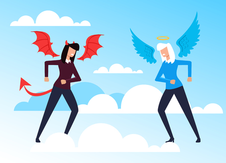 Good, evil and devil women opposition concept. Vector flat cartoon graphic design illustration