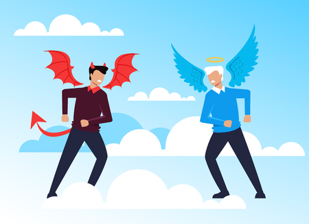 Good and evil opposition concept. Vector flat cartoon graphic design illustration Çizim